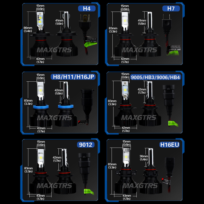 2x CREE XHP50 Chips H7 Led H4 Bulb H8 H11 9005 HB3 9006 HB4 9012 H16 Car LED Headlight Bulb 60W 8000LM Auto Lamp Fog Lights