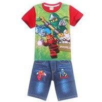2017 Summer Children Clothing Sets Ninja Batman Cartoon Ninjago Power Suit Jeans Set Baby Boys T