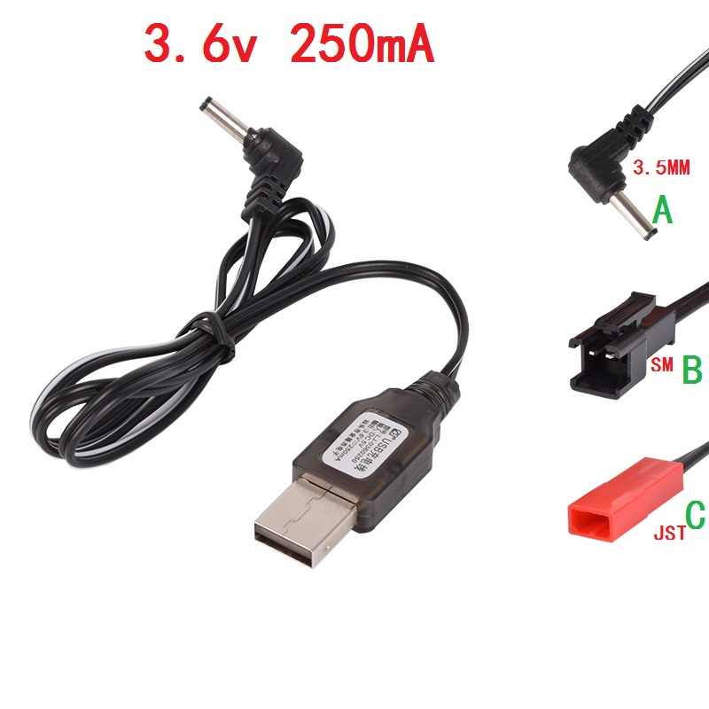 3.6v 250mA SM 2P JST 3.5MM USB Charger Cable For RC Helicopter Quadcopter Toys Car Model Truck Spare Parts