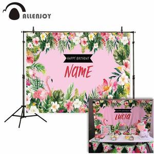 Image 2 - Allenjoy FlamingoวันเกิดPartyฉากหลังTropicalฤดูร้อนสีชมพูฮาวายAloha Jungleเด็กพื้นหลังที่กำหนดเองPhotozone Photocall