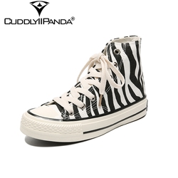 CuddlyIIPanda 2019 Spring Winter Plus Size 35-44 Zebra Striped Canvas Vulcanized Shoes High Top Woman Chunky Sneakers Zapatos