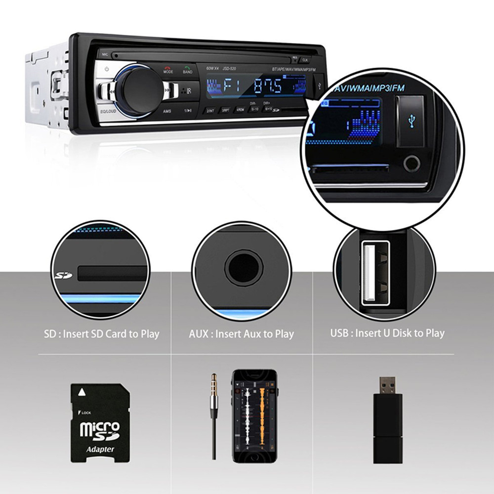 Image 3 - Bluetooth Audio Receiver MP3 Player FM Radio 1 Din in Dash USB/SD/AUX Car Electronics with Remote Control Car Stereo Player 12V-in Car Radios from Automobiles & Motorcycles