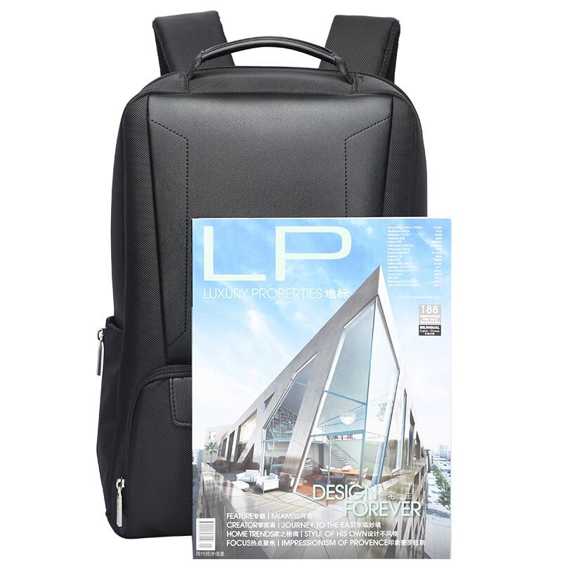 Image 5 - BOPAI 2018 Men Laptop Backpack 15.6 Inch Daily Work Backpack Men  Black Leather Schoolbag High School back pack mochila escolarBackpacks