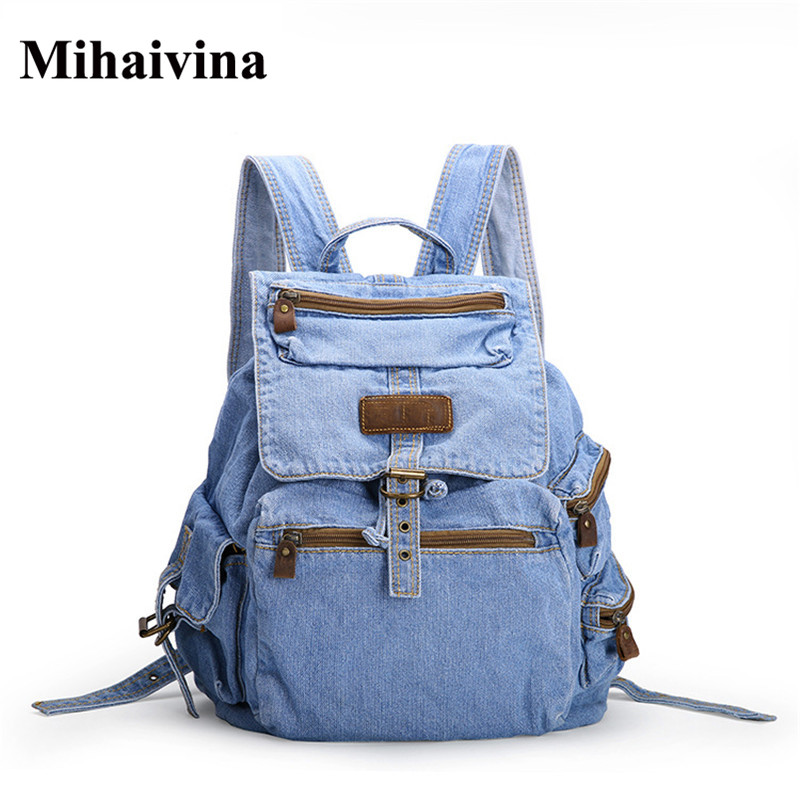 Fashion Women Backpack School Bags For Teenage Female Backpack Women Vintage Denim Shoulder Bags Travel Rucksack Mochilas 2016 newest wave fashion backpack women casual dackpacks backpack school leisure travel school bags women s shoulder bags bolsos
