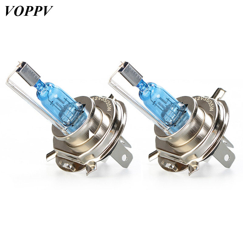 Voppv New Super White H4 Xenon Hid Headlight Halogen Lamp For Motorcycle Super White Light Bulbs 12v 35w Three Contactors Bulbs Agreeable Sweetness Light Bulbs