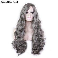 Woodfestival Длинные Волнистые Темно-серый парик косплей женщин термостойкие волосы синтетические парики