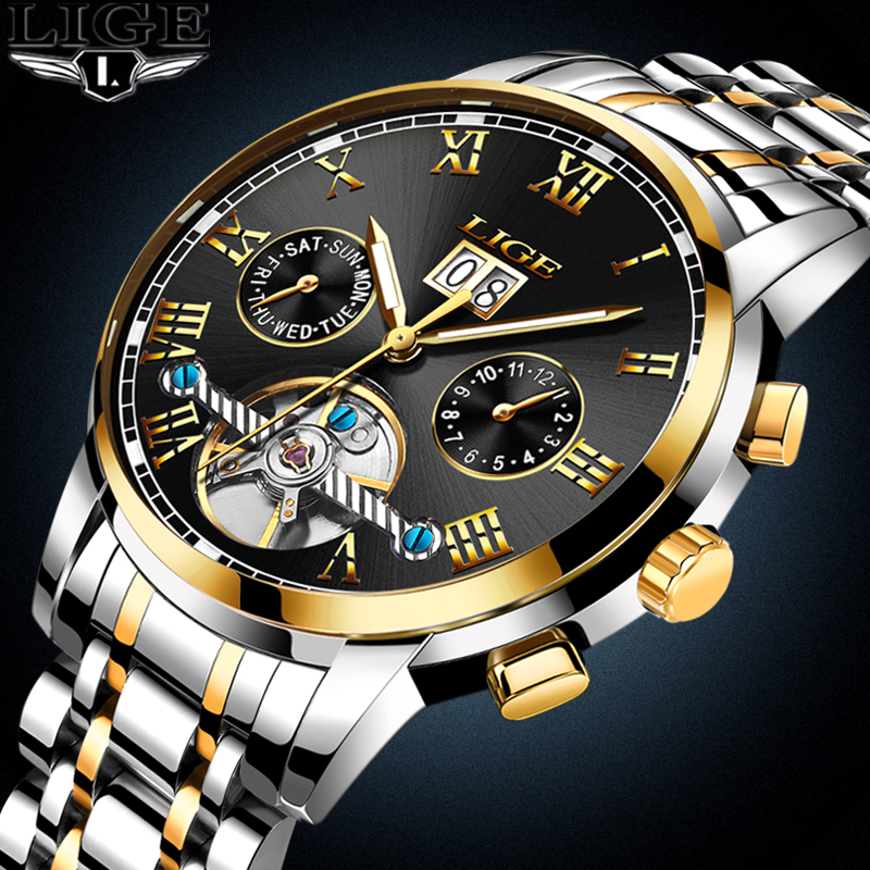 Watches Men <font><b>LIGE</b></font> Top Brand Luxury Men's Sports Waterproof mechanical Watch Man Full Steel Military Automatic Wrist watch Relojes image
