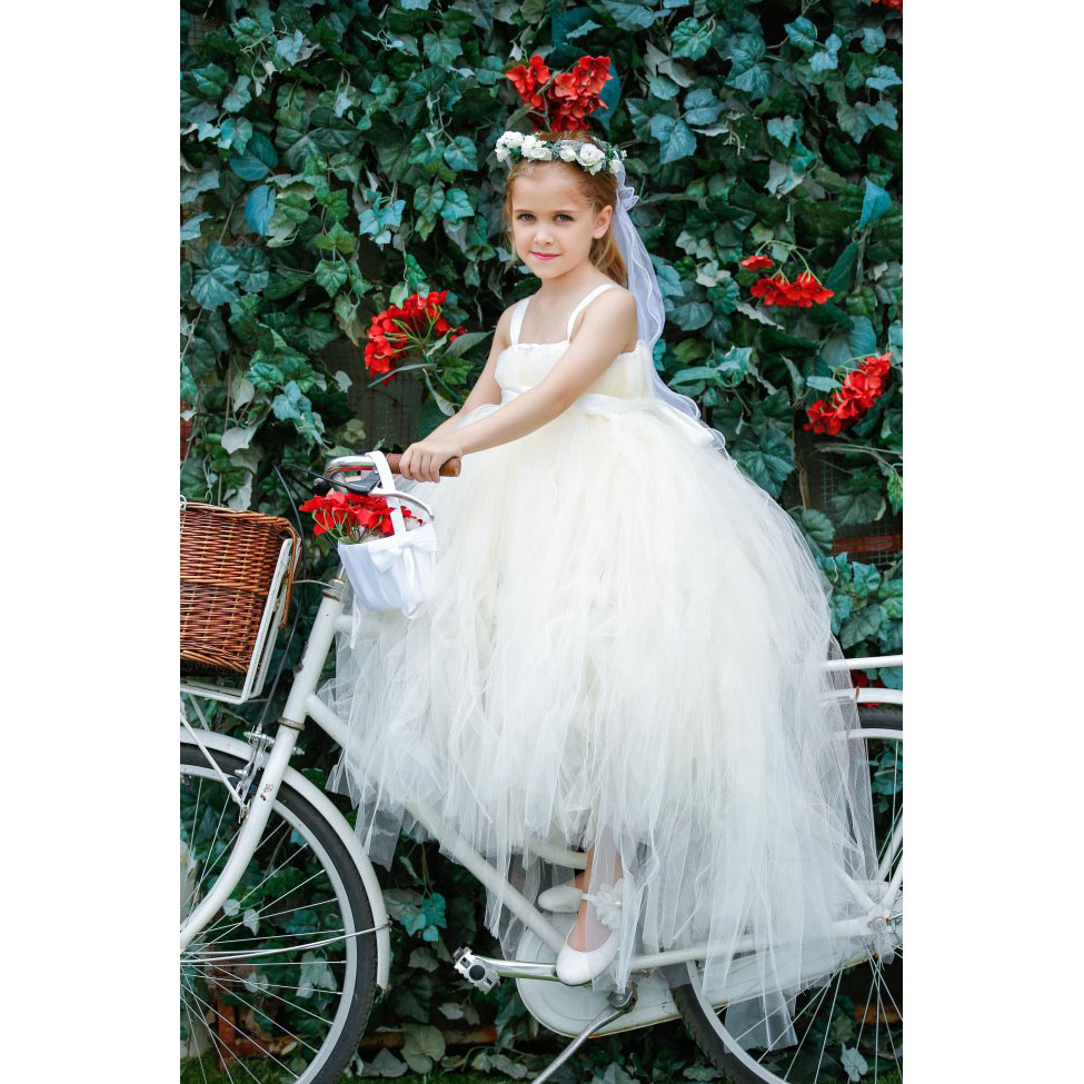 Girls Long Tail Wedding Dress White Ivory Tutu Flower Girls Dresses Princess Pageant Bridesmaid Party Dress New Years Dresses 2016 the new bridesmaid dresses bridesmaid dresses long grey spring evening dress female sisters dress party conference