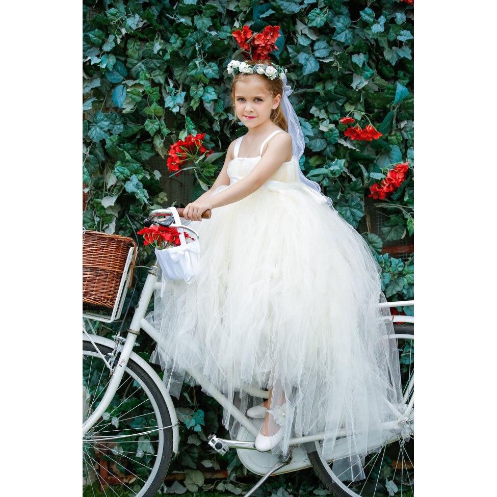 Girls Long Tail Wedding Dress White Ivory Tutu Flower Girls Dresses Princess Pageant Bridesmaid Party Dress New Years Dresses flower girl princess dress 2017 new fashion kid party pageant wedding bridesmaid ball bow white dress 2 4 6 8 years xdd 3271