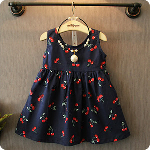 Summer Baby Girl Dress New Baby Girls Western Style Cherry Stamp Cotton Dress Vestidos Infantil Carters Baby Girl Clothes