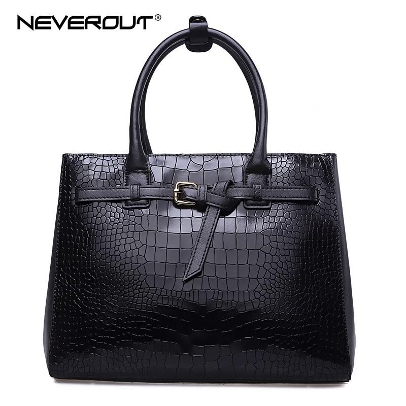 NEVEROUT Women Genuine Leather Handbag Solid Alligator Handbag Totes Dress Style Handbags Lady Zipper Shoulder Bags Casual Tote цена