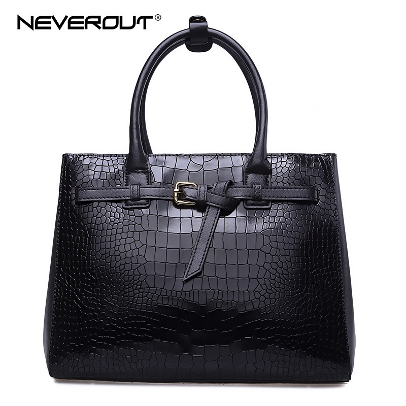 NeverOut Women Genuine Leather Handbag Solid Alligator Handbag Totes Dress Style Handbags Lady Zipper Shoulder Bags Casual Tote spring new elegant leather women handbag smooth skin lady shoulder bags female small casual totes cover zipper crossbody packs