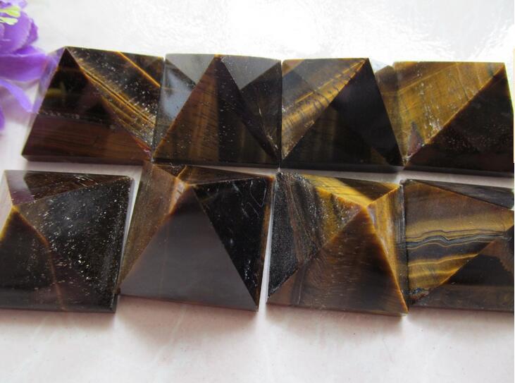 Přírodní tygří oko kamenné pyramidy dekorace 28mm - 35mm křišťálové pyramidy