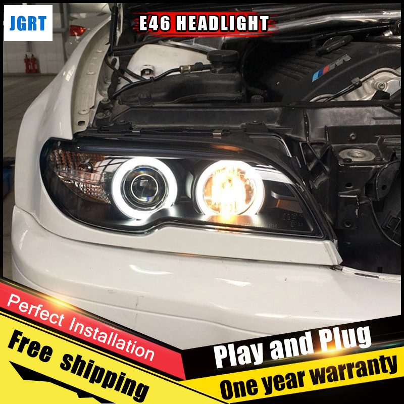 2PCS Car Style LED headlights for BMW E46 1998-2002 for E46 head lamp LED DRL Lens Double Beam H7 HID Xenon bi xenon lens стоимость