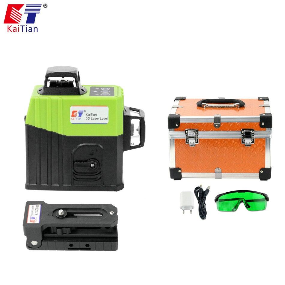 Kaitian 12 Linee 3D Livello Laser Verde con Supporto Magnete e Batteria Auto-Livellamento Orizzontale e Verticale Cross Line può Usare Ricevitore
