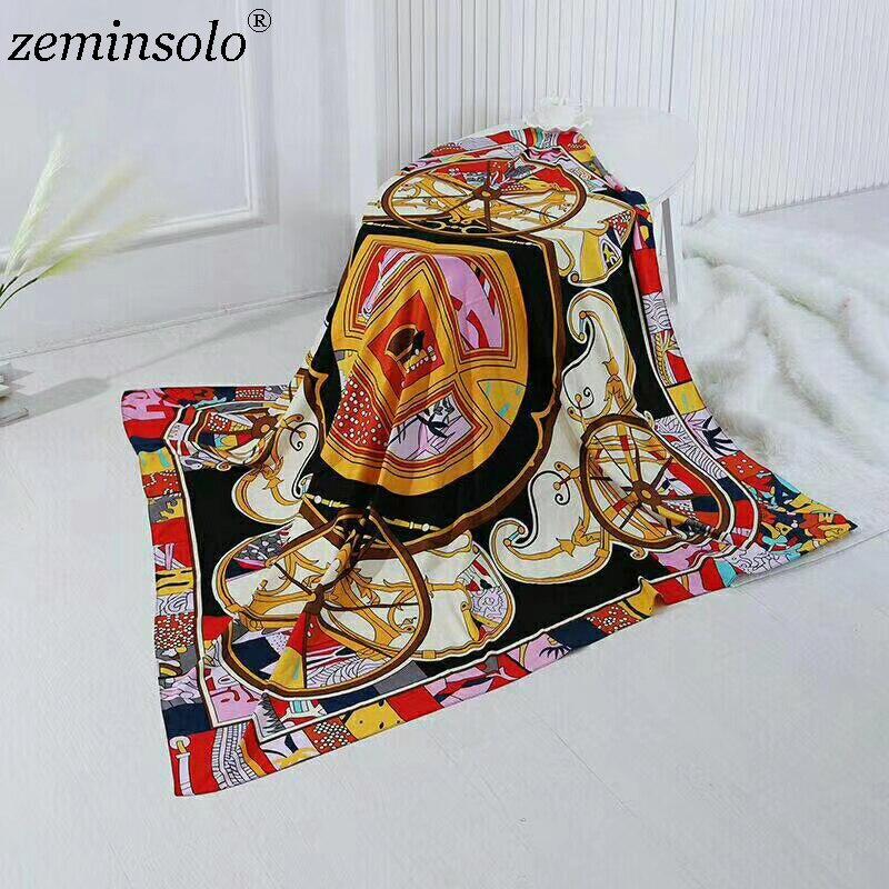 Zeminsolo 100% Silk   Scarf   Women Large Shawls Stoles Printed Square   Scarves   Echarpes Foulard Femme Satin   Wrap   Bandana 130*130cm