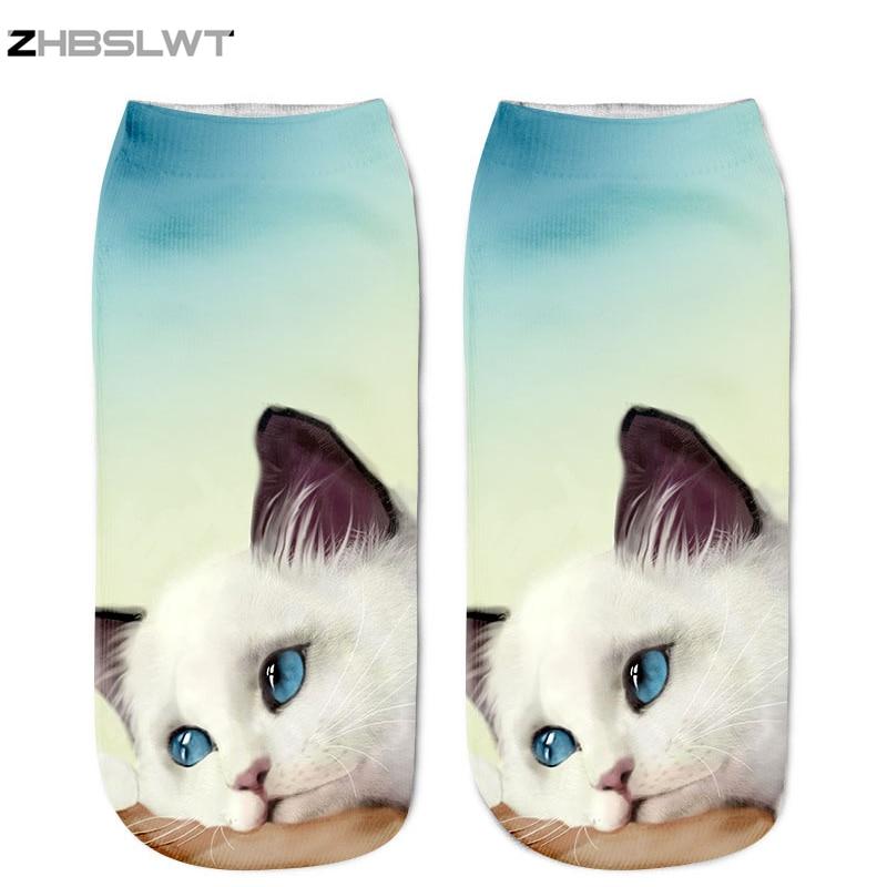 ZHBSLWT New Lovely Cat Pattern 3D Print Animal Women Socks Casual Cartoon Socks Unisex Low Cut Ankle Socks-003