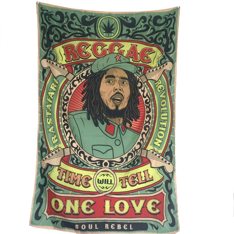 Reggae Rasta BOB Marley Hippie Band Polyester Hanging Flag For Bar Party Music Festival Tattoo Shop Home Wedding Decoration