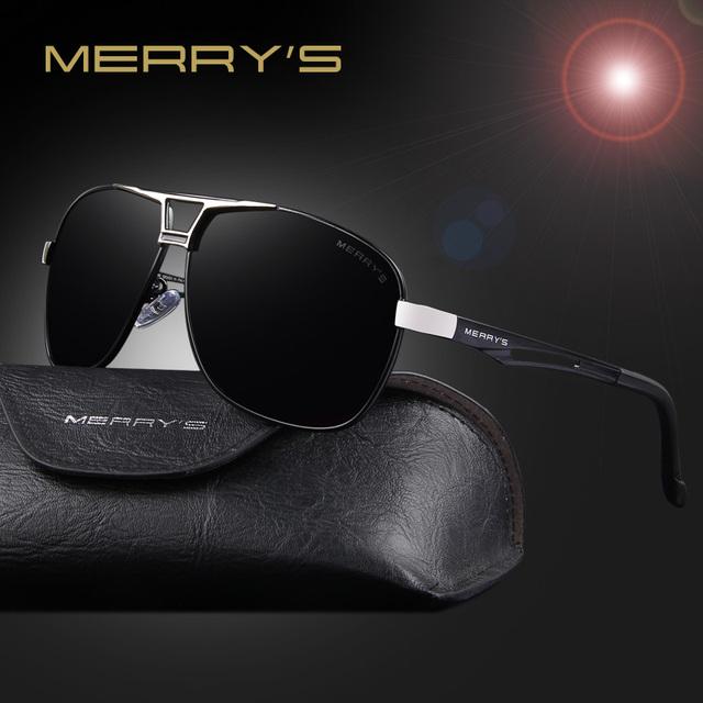 Merry's clássico da marca óculos de sol dos homens polarizada hd retângulo óculos de sol espelho de condução masculino óculos de sol dos homens de alumínio s'8758