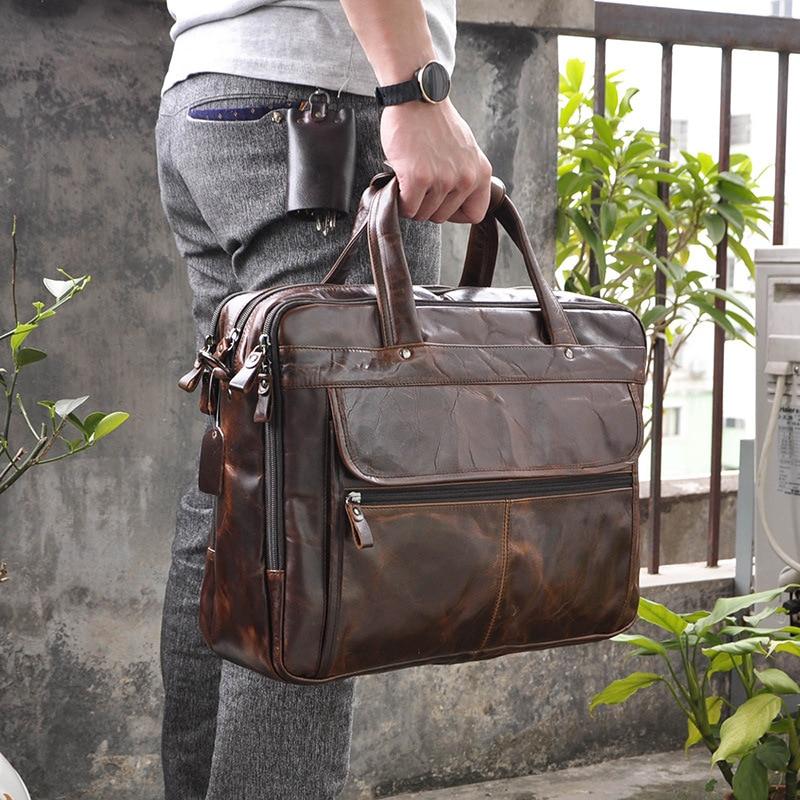 Men Oil Waxy Leather Antique Design Business Briefcase Laptop Document Case Fashion Attache Messenger Bag Tote Portfolio 7146