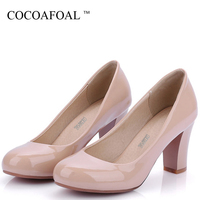 COCOAFOAL Woman White Wedding Bridal Shoes Plus Size 33 43 Black Red High Heels Shoes Patent Leather Party Stiletto Pumps 2018