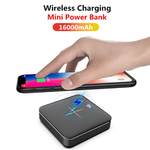 Portable Wireless Charge Mini Power Bank 2.1A Quick Aluminium Alloy Mirror Powerbank 16000mAh Dual USB Fast Charging Pack