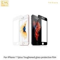 2 pçs/lote Para o iphone 7 7G, 7 Mais Película Protetora Completa Tampa de Vidro Temperado 9 H Protetor de Tela 5D Ouro Preto Cor Branco