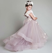 Free-Shipping-2014-New-Lovely-Tulle-Handmade-Flowers-Appliqued-Scoop-Flower-Girl-Dresses-For-Weddings-Girl