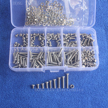 360Pcs M3 Metric phillips Button Head Stainless Steel screws nuts PCB Threaded Bolt Assortment kit set Fastener Hardware screw 250pcs m4 pcb 304 stainless steel screws nuts sets cap head threaded hex screws bolt assortment kit set fastener hardware screw