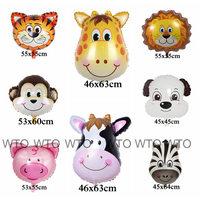 wholesell 50pcs animal balloons tiger lion pig monkey giraffe zebra dog animal head foil balloons