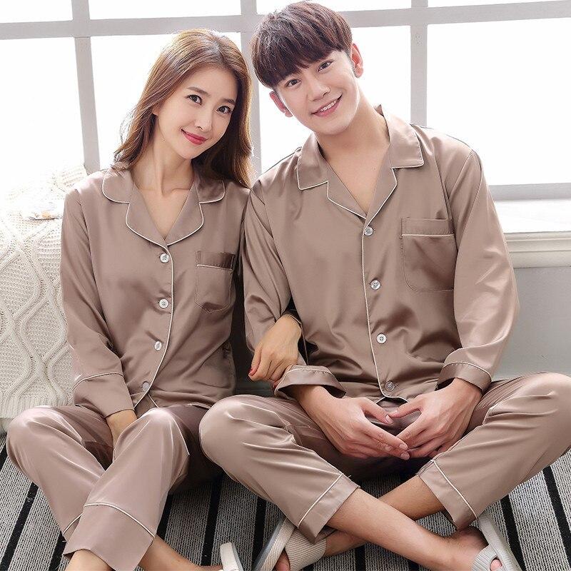 Image 4 - BZEL Silk Satin Couples Pajamas Set For Women Men Long Sleeve Sleepwear Pyjamas Suit Home Clothing His and hers Clothes Pijamas-in Men's Pajama Sets from Underwear & Sleepwears on AliExpress