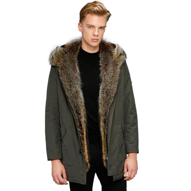 Abrigo de piel de lobo abrigo de piel de invierno con capucha chaqueta de estilo largo abrigo de piel Real gruesa piel Natural para hombre invierno térmica prendas de vestir exteriores