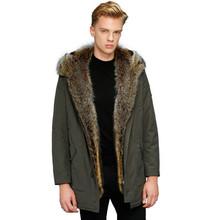 Wolf Fur Coat Men Winter Warm Fur Coat Hooded Long Style Jacket Thick Real Fur Coat