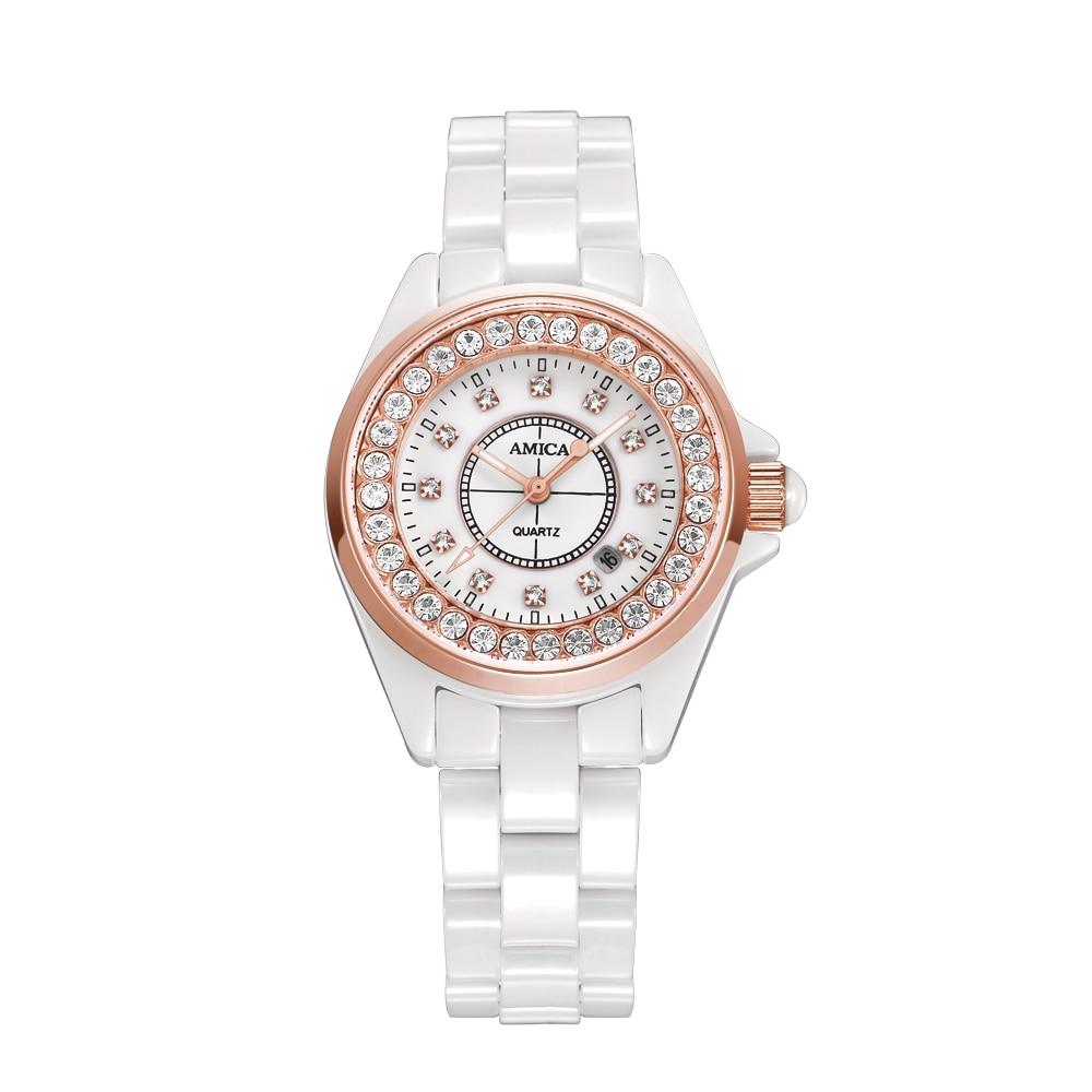 купить Amica Women's D-Ceramics Quartz Sapphire Silver Tone Stainless Steel Surface Crystal Ceramic Watchband Wrist Watches A5-10 дешево