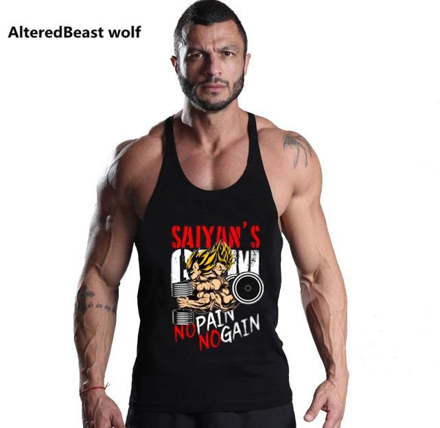 Bodybuilding Dragon Ball Tank Tops Men Goku Vegeta print Tops O Neck cotton Muscle Sleeveless Shirt