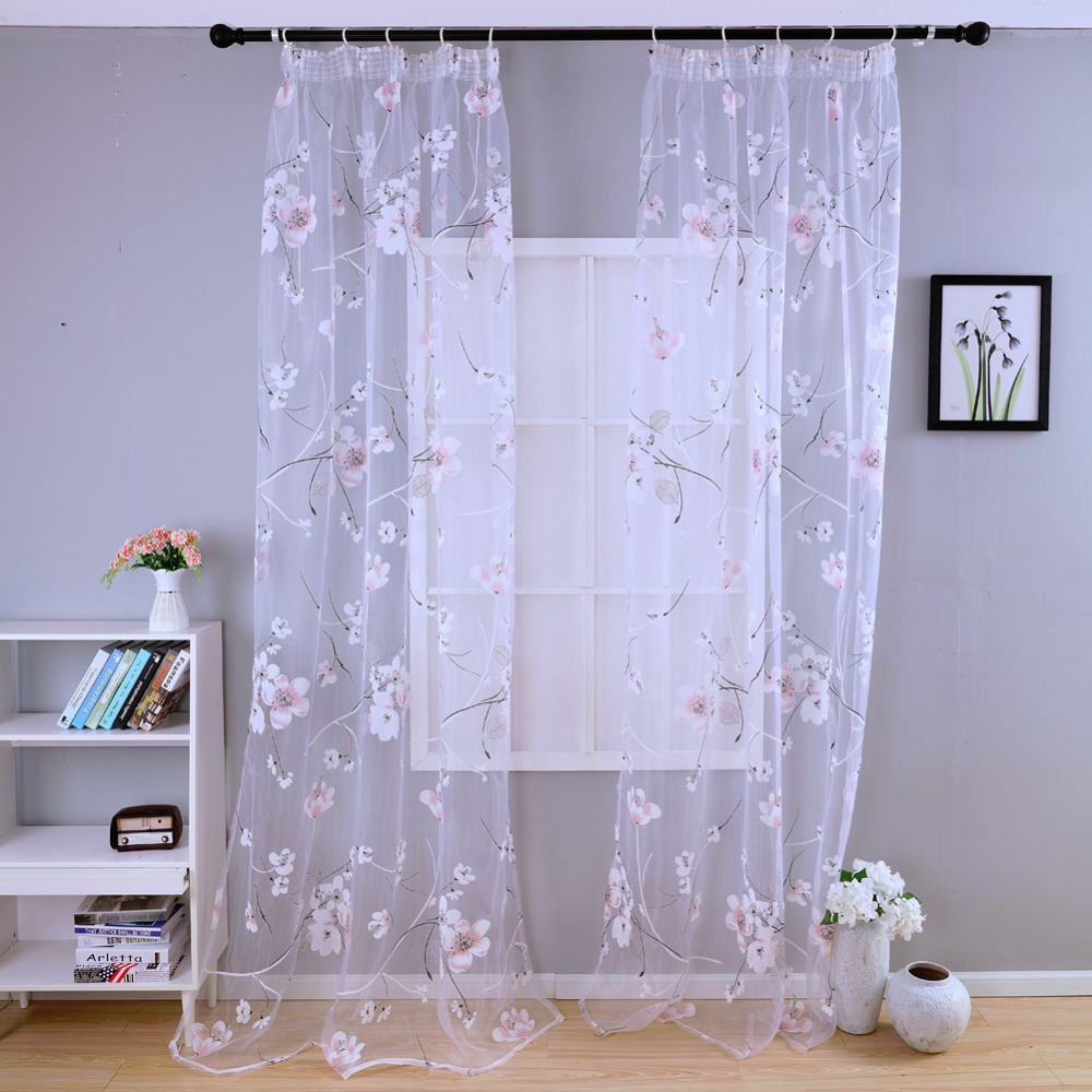 Free Shipping Bedroom Curtain Transparent Kitchen Fabrics Short Curtains  Kid Floral Tulle Sheer For Window Panel