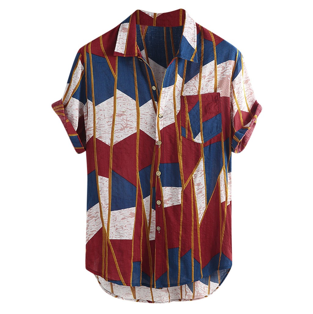 Womail 2019 New Arrivals Fashion Summer Mens Casual Multi Color Lump Chest Pocket Short Sleeve Round Hem Loose Shirts Blouse Рубашка