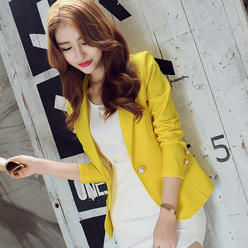 Women's Slim Long Sleeve Short Blazer Korean fashion solid color suit Yellow suit jacket female 2019 new women's clothing new fashion women female korean short type long sleeve slim motor zipper leather jackets coats