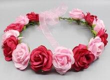 2016 Женщин Новые Свадебные Повязка Kid партия цветочные гирлянды с Лентой головной убор цветок корона роуз венок цветка принцесса