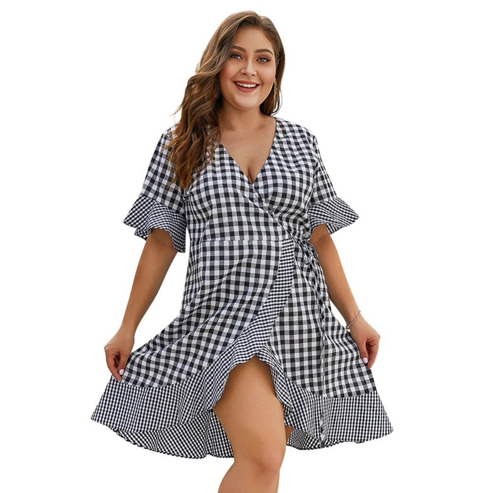 US $24.5 |Plus Size Plaid Patchwork Split Dress For Women Summer 2009 New  Chequered Lotus Edge Women Dress-in Dresses from Women\'s Clothing on ...