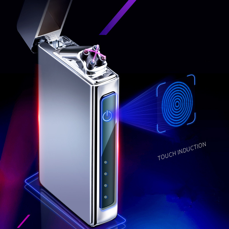 fingerprint Double Arc Plasma Lighter USB Pulse Windproof Lighter Metal Electronic smart display power Lighters Gifts