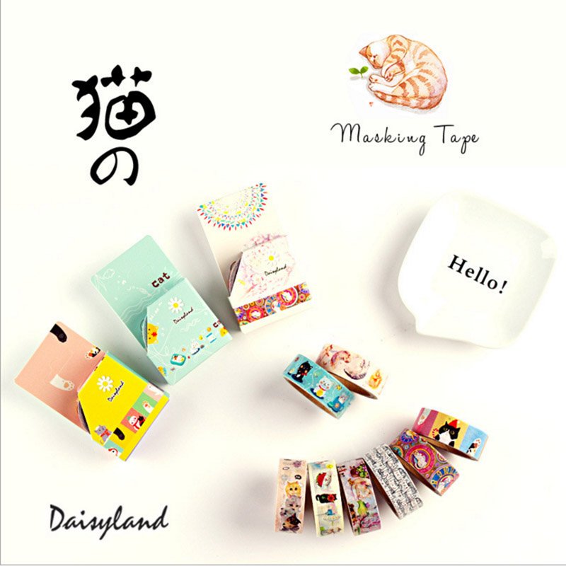 DIY Cute Kawaii Masking Washi Tape Lovely Cartoon Cat Adhesive Tape Sticky Paper For Decoration Photo Album Free Shipping 3053 modern autumn open front pocket cardigan
