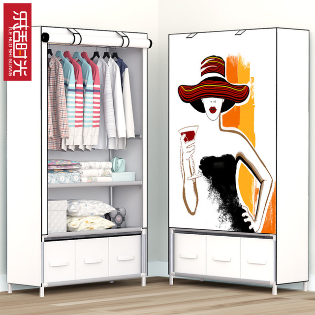 Printing Modern Minimalist Cloth Wardrobe Reinforced Steel Embled Storage Cabinets Economy Clothing Closet Furniture
