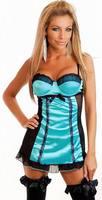 Sexy babydoll Darmowa Wysyłka Niebieski Sheer Bluzka 3S4067 sexy satin babydoll
