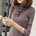 Diseño corto cuello alto suéter camisa básica femenina suéter del espesamiento delgado suéter de manga larga