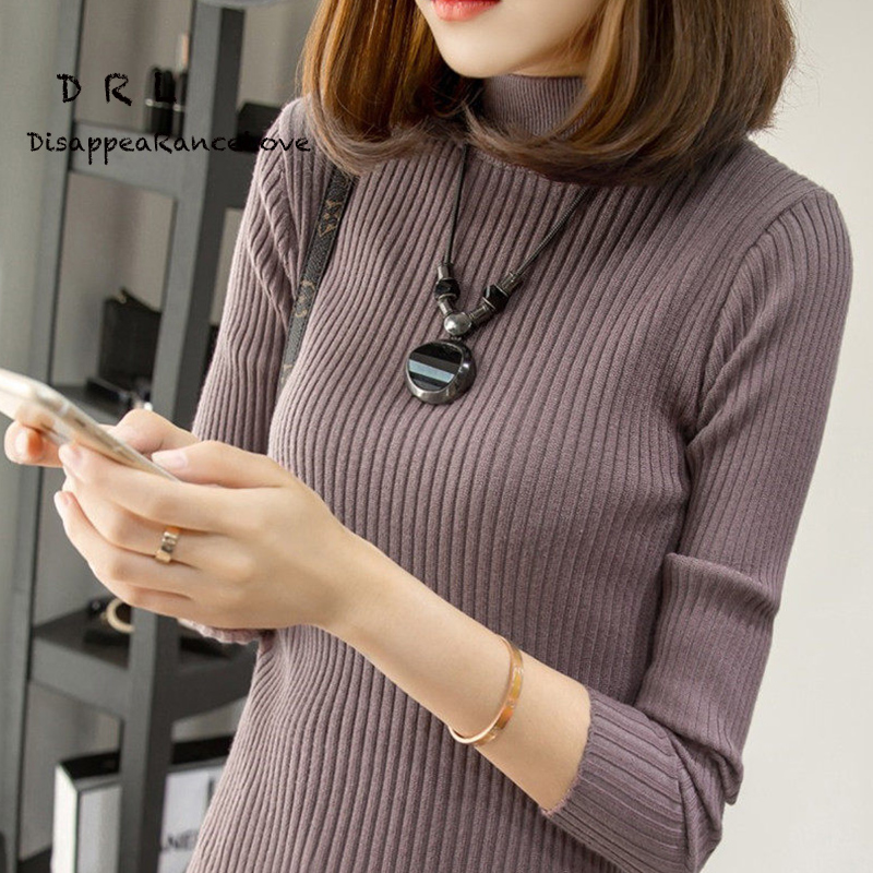 Short design turtleneck sweater basic shirt female long-sleeve pullover sweater thickening slim sweater