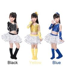 New Sequins girls Jazz Dance Suit Kids Modern skirt costume  Performance stage dancewear costumes 3 color