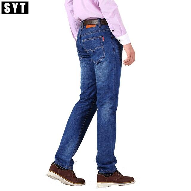 200e87be57 SYT Nueva Marca Para Hombre de Negocios Informales Pantalones Vaqueros  Regular Straight fit Bonito Color Azul
