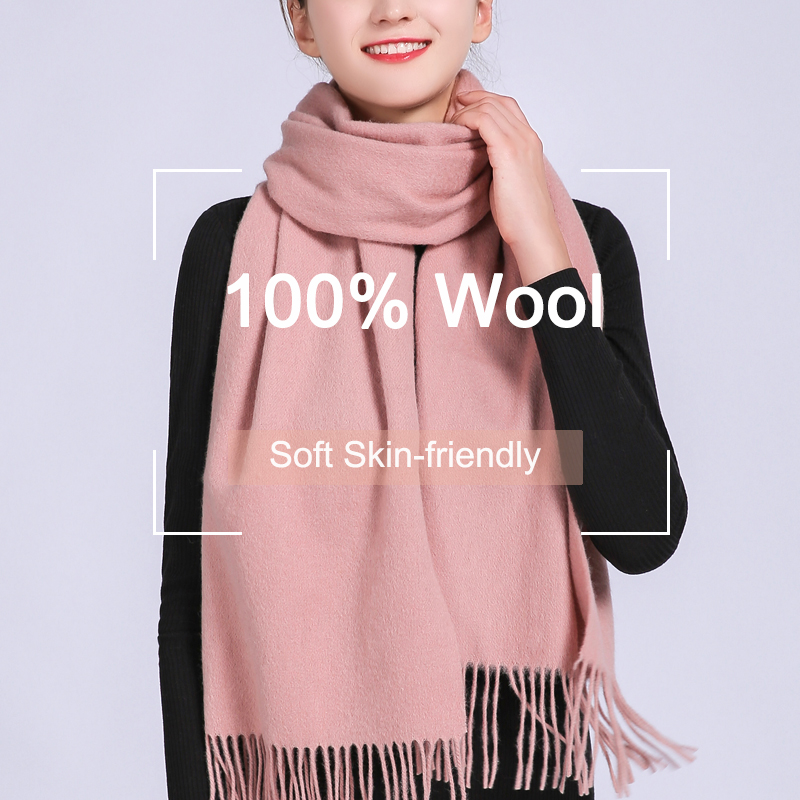 100% Pure Wool   Scarf   Women Luxury 2018 Shawls and   Wraps   for Ladies Solid Pashmina Neckerchief Tassel Winter Warm Wool   Scarves