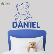 Cute Bear Vinyl Wall Stickers Kids Room Personalized Name Removable Decal Nursery Bedroom Decor Custom A Poster FD333